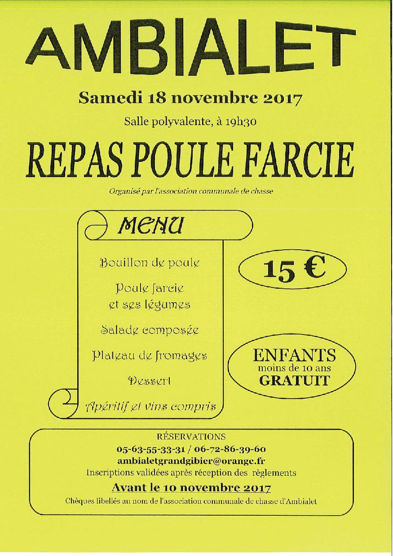 Repas Poule Farcie