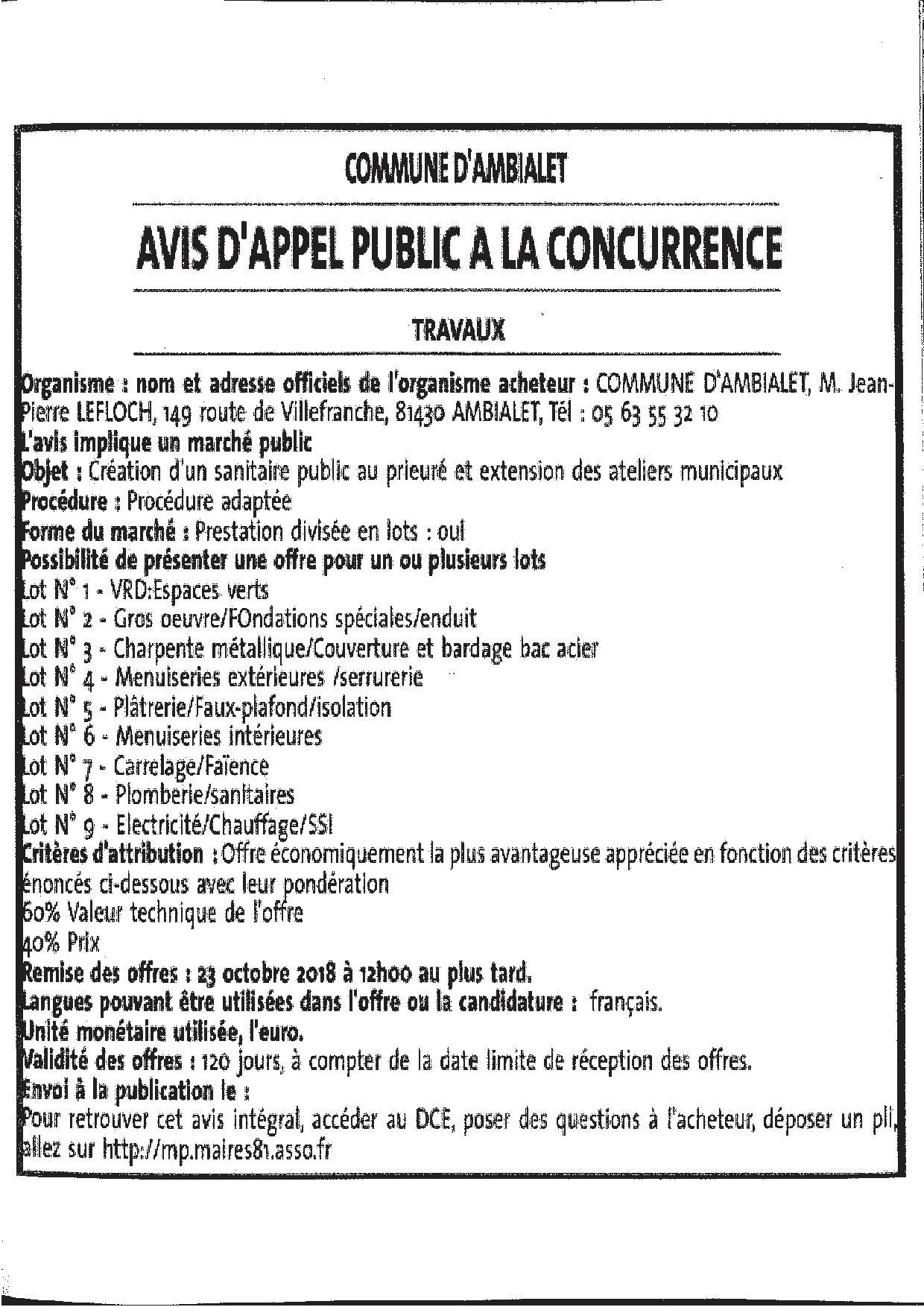 AVIS D'APPEL PUBLIC A LA CONCURRENCE